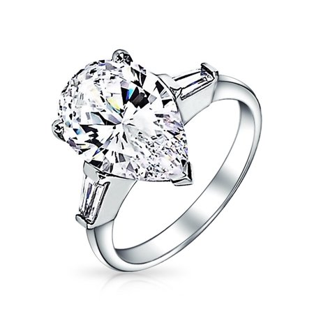 7CT Cubic Zirconia 925 Sterling Silver Baguette Side Stones Brilliant Cut AAA CZ Pear Shaped Statement Engagement (Round Brilliant With Pear Shaped Side Stones)