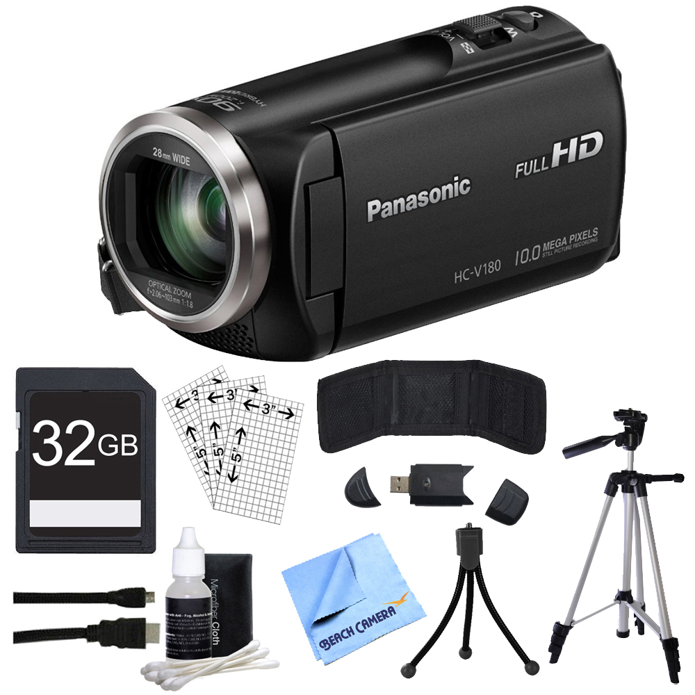 "Panasonic HC-V180K Full HD Camcorder with 50x Stabilized Optical Zoom - Black with Bundle Includes, 32GB High Speed Memory Card, 57"" Full size Tripod & 6' High Speed mini-HDMI to HDMI A/V Cable"