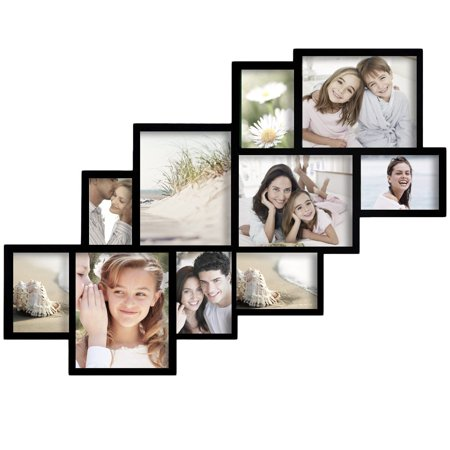 Adeco  Decorative Black Wood Wall Hanging Picture Frame Collage with 10 Clustered 4-8x10-inch, 5-5x7-inch, 1-4x6-inch Openings - Halloween Cluster Frames