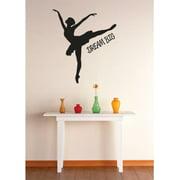 Vinyl Wall Decal Sticker : Dream Big Ballerina Dancer Girls Kids Teen Quote Picture Art Peel & Stick Mural 16x16 Inches
