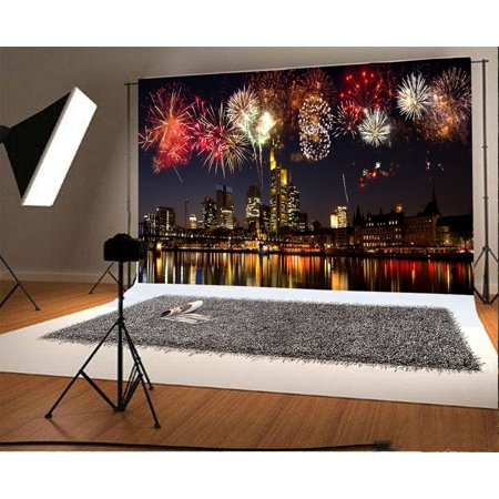 GreenDecor Polyester Fabric 7x5ft Photography Backdrop City Night Landscape Happy New Year Fireworks Skyscraper Festival Celebrations Scene Photo Background Children Baby Adults Portraits Backdrop (Scene Backdrops)