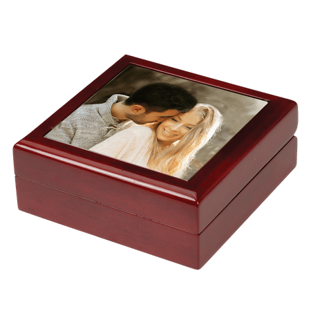 Keepsake Jewelry Photo Box Diamond Platinum Jewelry Box