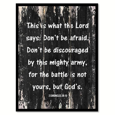 This Is What The Lord Says Don't Be Afraid Don't Be Discouraged By This Mighty Army Inspirational Quote Saying Black Canvas Print Picture Frame Home Decor Wall Art Gift Ideas - Family Of 7 Photo Ideas