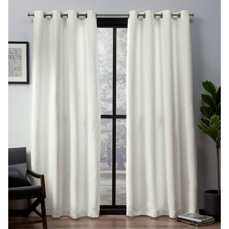- Exclusive Home Curtains 2 Pack Leeds Textured Slub Woven Blackout Grommet Top Curtain Panels