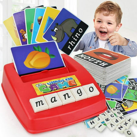 Early Learning Educational Toy 26 English Letter Spelling Alphabet Game Figure Spelling Game Platter Puzzle Spell Words Toys for 3 year old Toddlers, Kids and Adults - Toddler Educational Games