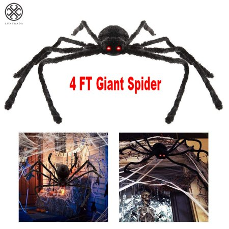 Day After Halloween Funny (Luxtrada 125CM/4FT Large Size Plush Spider Made Of Wire And Plush Halloween Props Spider Funny Toy party Bar KTV April Fool's Day)