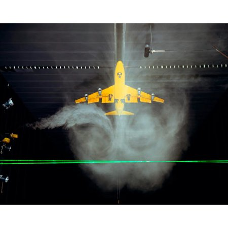 Wake Vortex flow visualization tests of a Boeing 747 model Poster Print by Stocktrek Images