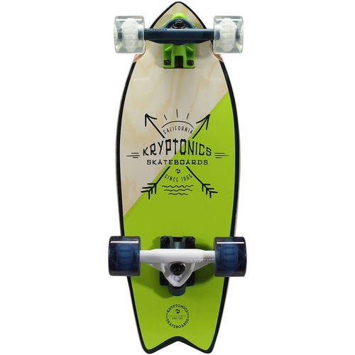 "Kryptonics Mini Fish Cruiser Complete Skateboard, 23"" x 8.0"" by"