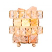Natural Himalayan Crystal Salt Lamp with Metal Base, Dimmable Controller, Dimmer Switch, UL-Listed Cord - Cube