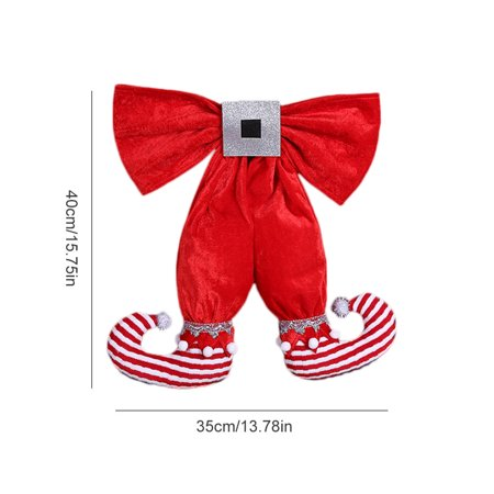 European and American Style Cute Elf Foot Shape Bowknot Christmas Decoration Pendant Hotel Christmas Tree Decorations](Elf Door Decoration)