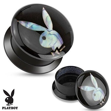 - Earrings Rings Mother of Pearl Playboy Bunny Inaly Black Acrylic Screw Fit St...