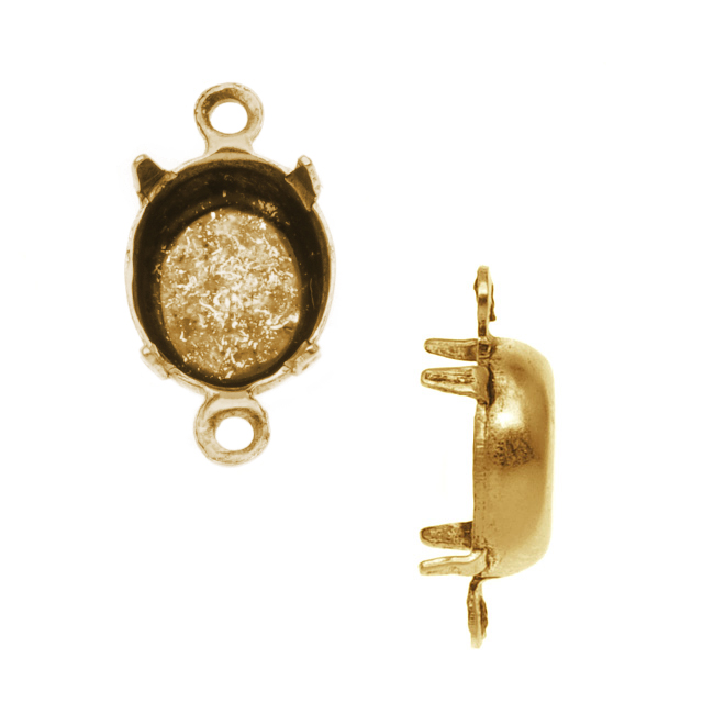Nunn Design Antiqued Gold Plated Oval Four-Prong Setting 8x10mm (4)