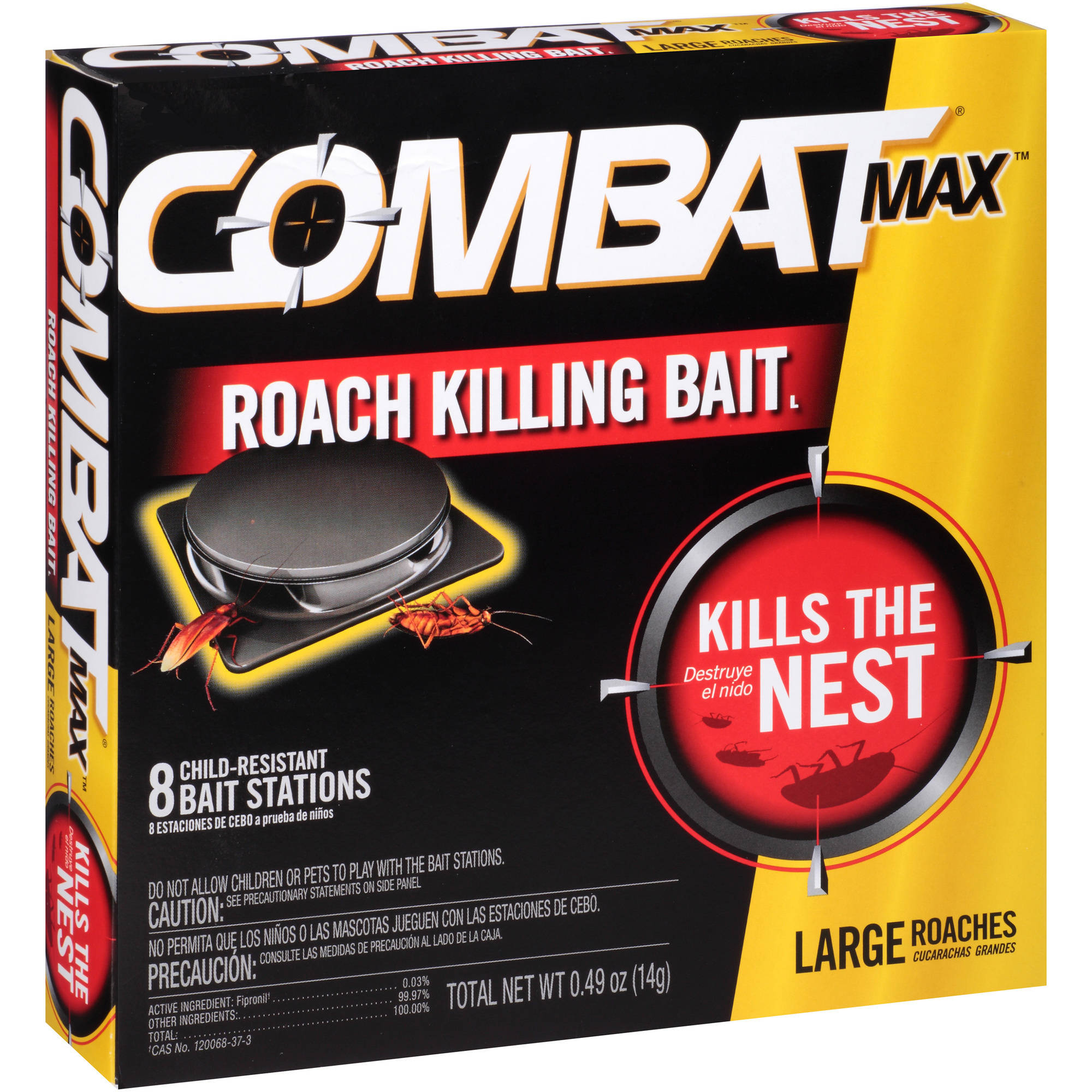 Combat Max Large Roaches Roach Killing Bait Stations, 8 count