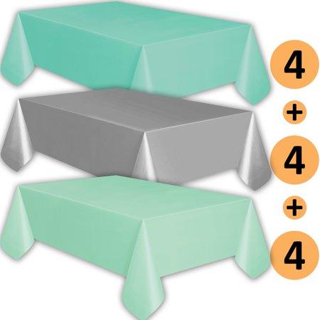 12 Plastic Tablecloths - Aqua, Silver, Mint - Premium Thickness Disposable Table Cover, 108 x 54 Inch, 4 Each - Mint Green Plastic Tablecloth