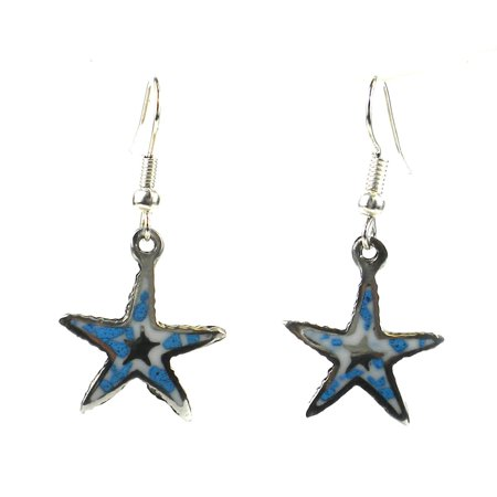 Global Crafts Handmade Alpaca Silver and Turquoise Chip Starfish Earrings -  - Turquoise Starfish Earrings