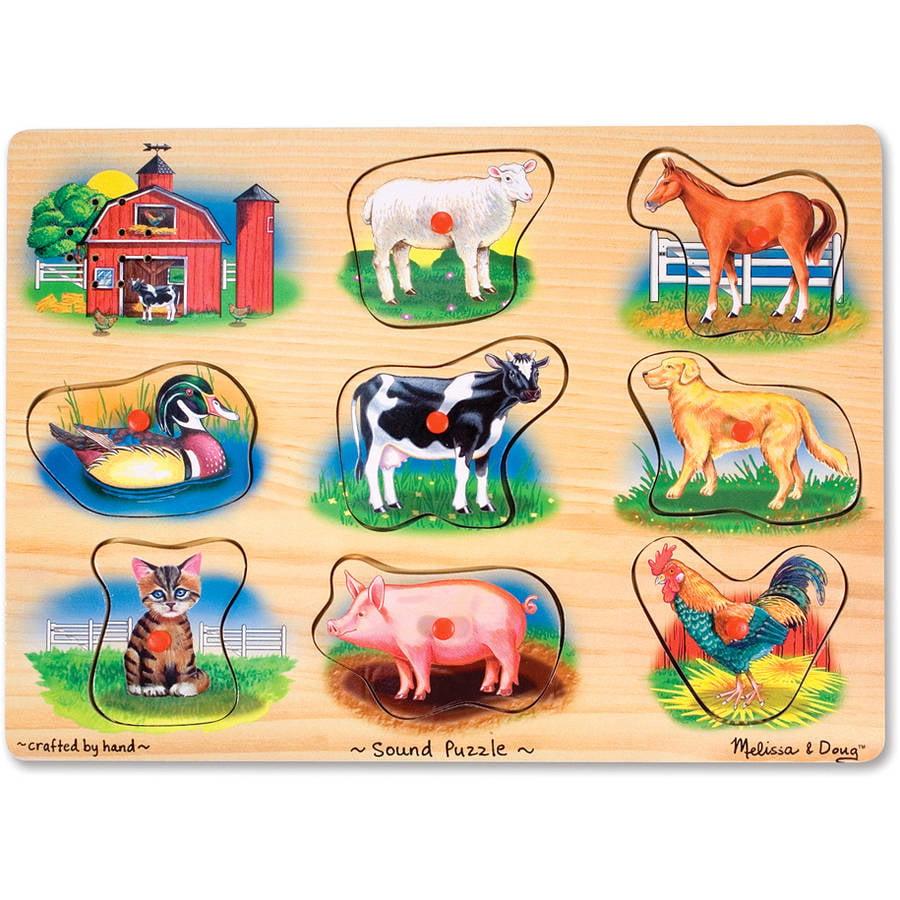 Melissa & Doug Farm Sound Puzzle - Wooden Peg Puzzle With Sound Effects (8 pcs)