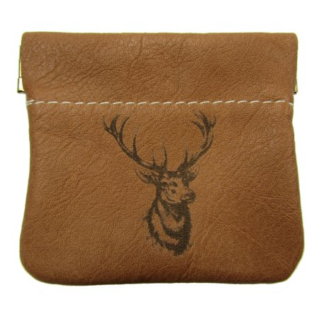 Leather Deer Logo Squeeze Coin Pouch USA Made, Tan