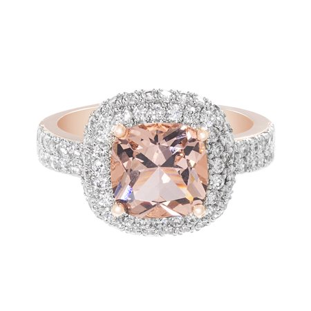 Gangsta Rings (Simulated Morganite White Cubic Zirconia Double Halo Cushion Cut)