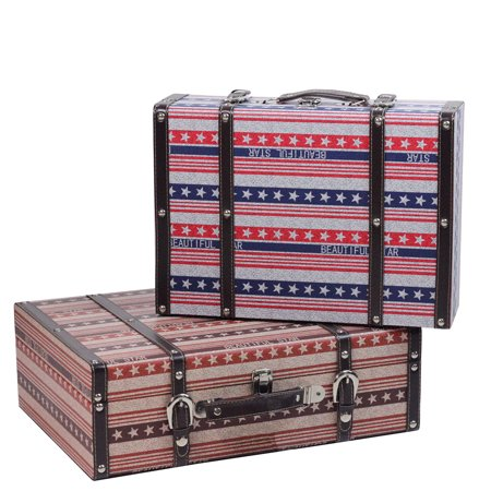 Cotton Striped Trunk - Set of 2 Vintage-Style Red, White and Blue Beautiful Star Decorative Wooden Luggage Trunks 17.5