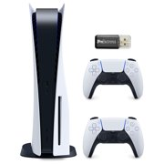 Sony Playstation 5 Disc Version (Sony PS5 Disc) with Extra DualSense Wireless Controller and Micro SD Card USB Adapter Bundle