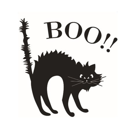 2PCS Halloween Wall Sticker, Justdolife Scary Boo Cat Decor Window Sticker Wall Decal for Home Bedroom Party Decoration