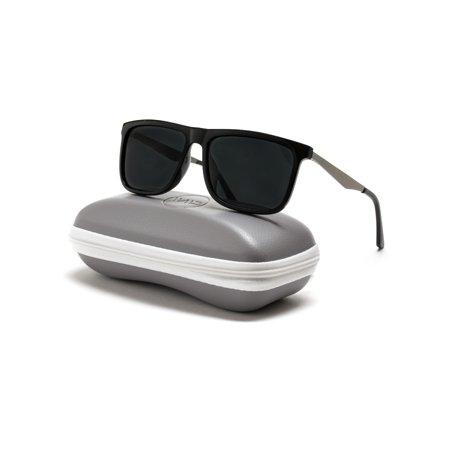 WearMe Pro - Flat Top Polarized Lens Square Black Sunglasses for Men (Top Mens Sunglasses)