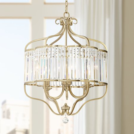 "Vienna Full Spectrum Delacey 22"" Wide 6-Light Gold and Glass Crystal Chandelier"
