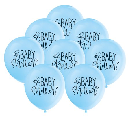 Latex Boy Baby Shower Balloons, Light Blue, 12 in, 8ct (Boy Baby Shower Balloons)
