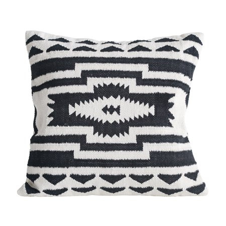 3R Studios Black and Cream Square Kilim Cotton Pillow
