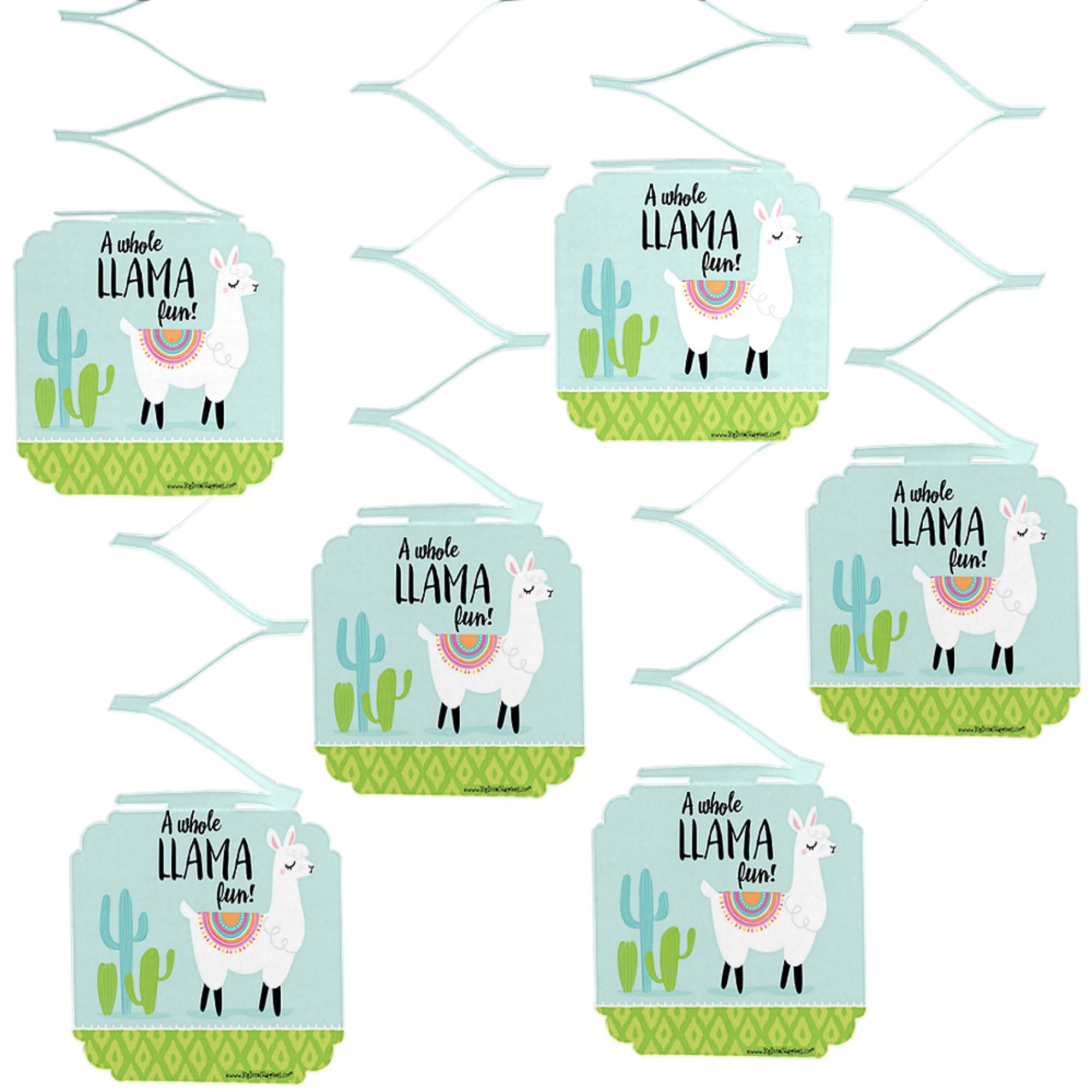Whole Llama Fun - Llama Fiesta Baby Shower or Birthday Party Hanging Decorations - 6 Count