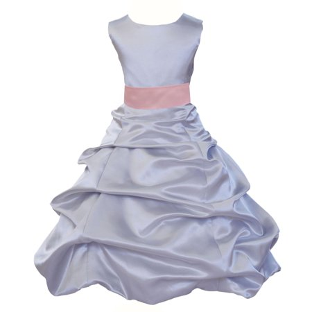 Ekidsbridal Formal Satin Silver Flower Girl Dress Christmas Bridesmaid Wedding Pageant Toddler Recital Easter Holiday Communion Birthday Baptism Occasions Formal Events 806s Baby Pink Size 6 - Wisteria Dress