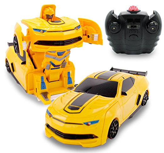 RC Toy Transforming Robot Remote Control Sports Car Wall Climber 1/24 Scale (Yellow)