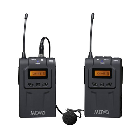 Movo WMIC70 Wireless 48-Channel UHF Lavalier Microphone System with Omni-Lav, Camera Mount & 3.5mm/XLR Outputs (328-foot Range) (Wireless Camera Microphone)