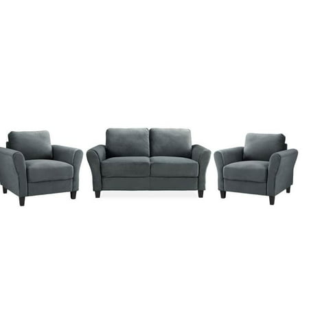Remarkable 3 Piece Sofa Set With Loveseat And Set Of 2 Accent Chairs In Dark Gray Creativecarmelina Interior Chair Design Creativecarmelinacom