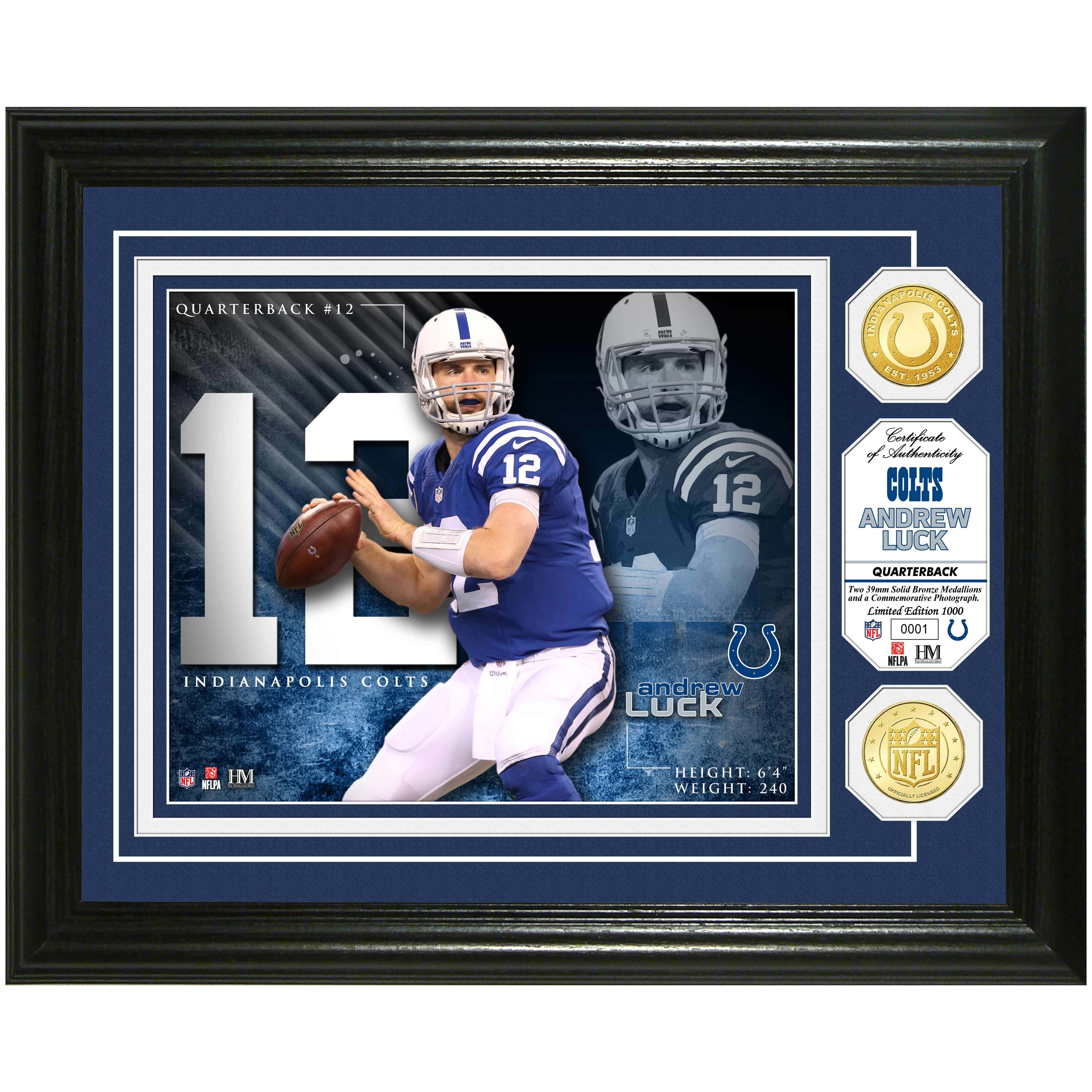 "andrew luck Indianapolis Colts Highland Mint 13"" x 16"" Player Photo Mint & Coin Set - No Size"