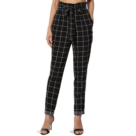 TheMogan Women's Check Print Paperbag High Rise Tapered Leg Trouser Pants
