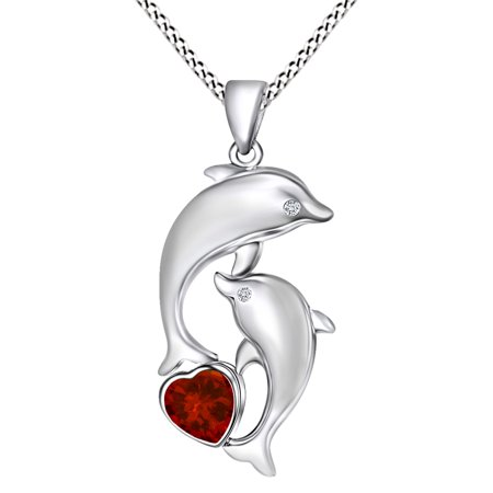 Mother's Day Gift Heart Simulated Garnet & White Cubic Zirconia Dolphin Pendant Necklace In 14k White Gold Over Sterling Silver - Garnet Dolphin Pendant