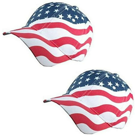 Patriotic American Flag Baseball Hat in Red, White and Blue Stars & Wavy Stripes design (2 - Patriotic Hat