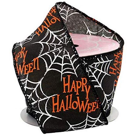 Happy Halloween Spiderwebs Wired Ribbon - 2 1/2