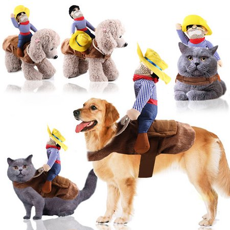 Pet Cat Cowboy Rider Dog Costume Dogs Clothes Knight Style with Hat