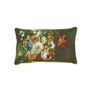"Creative Co-Op Floral Embroidered Accent Throw Pillow - 24"" x 14"" Rectangle"