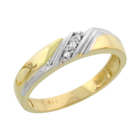 10k Yellow Gold Ladies' Diamond Wedding Band Ring 3/16 inch wide Size 6