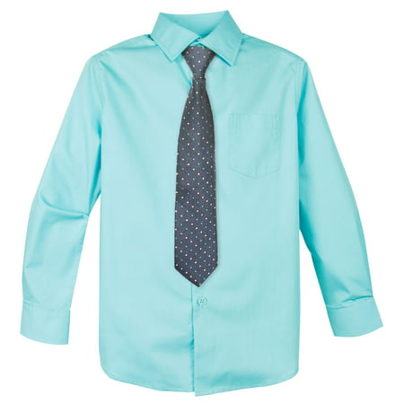 Spring Notion Big Boys' Cotton Blend Dress Shirt and Tie Set, Aqua
