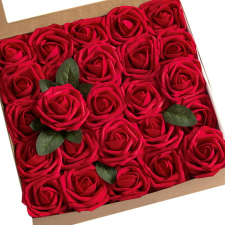 Artificial Flowers Roses, 50pcs Blush Real Looking Dark Red Fake Roses with Stem, Realistic Fake Roses for DIY Wedding Bouquets Centerpieces Bridal Shower Party Home Decorations ()