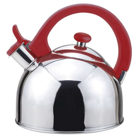 Acacia 2 Qts. Stainless Steel Stovetop Tea Kettle with Whistle in Red