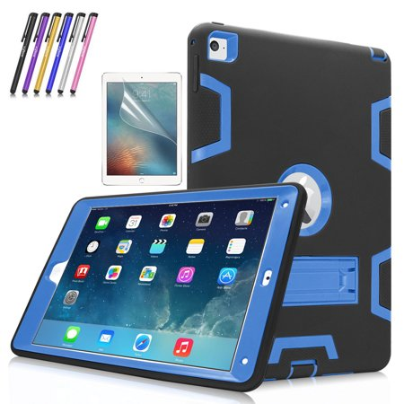 iPad Air 2 Case, Mignova Heavy Duty rugged impact Hybrid Protective Case with Build In Kickstand For Apple iPad Air 2 + Screen Protector Film and Stylus Pen (Black / Indigo