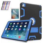 iPad Air 2 Case, Mignova Heavy Duty rugged impact Hybrid Protective Case with Build In Kickstand For Apple iPad Air 2 + Screen Protector Film and Stylus Pen (Black / Indigo Blue)