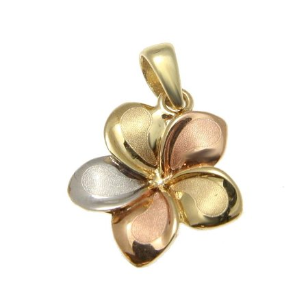 14K Solid tricolor gold 13mm Hawaiian plumeria flower pendant charm