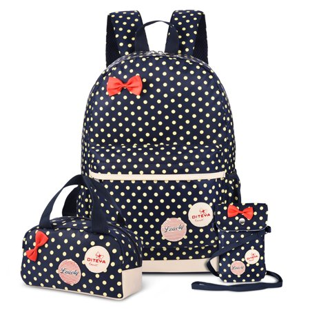 Vbiger Set 3 Polka Dot Waterproof Nylon Backpack Casual Bookbags School Bags Shoulder Wallet Bag (Dark Blue)