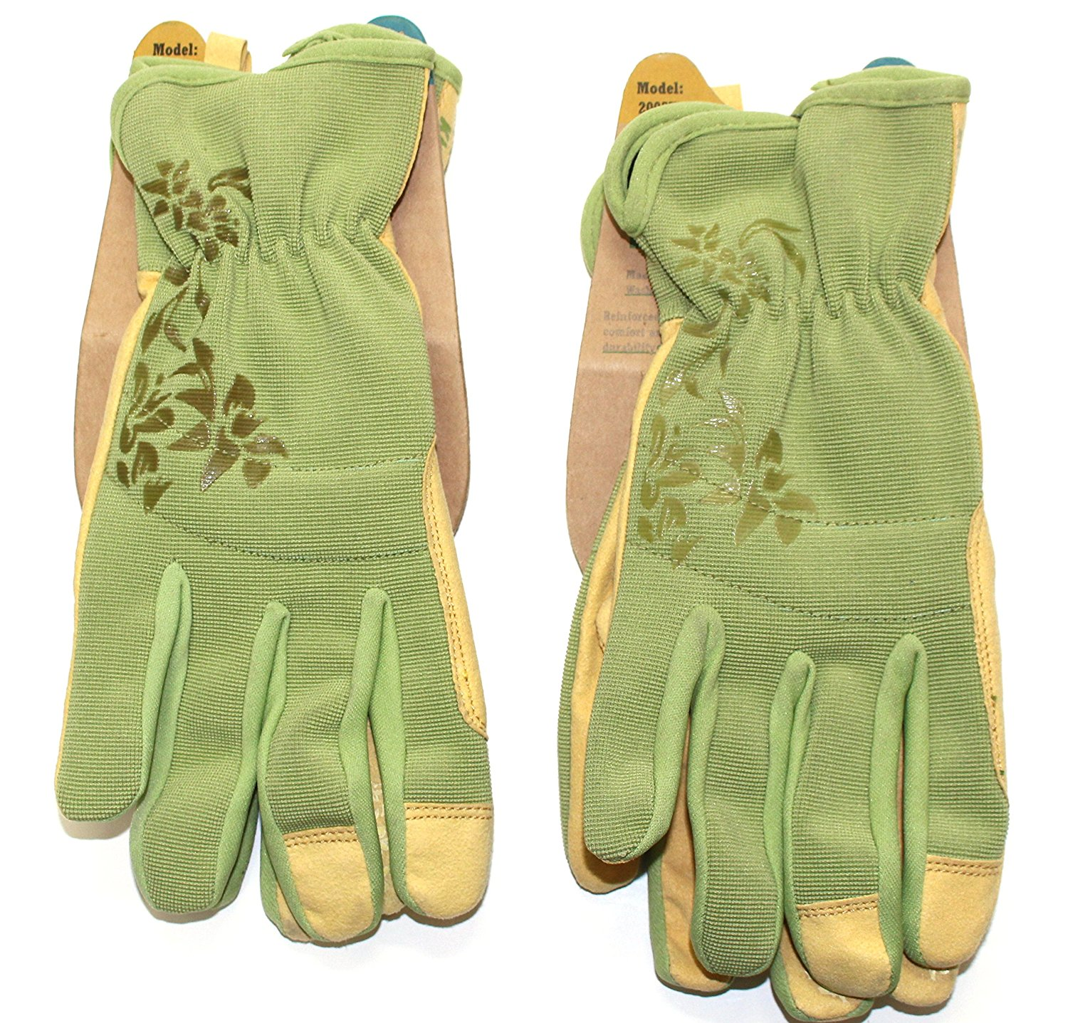 Kinco 2005W-L Women's Green Synthetic Leather Gloves - Ideal for Gardening and Yard Work - Silicone on Finger Tips for Added Grip (2-Pack) (Size: Large)